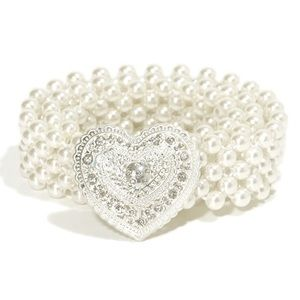 Faux pearl stretch belt with heart clasp